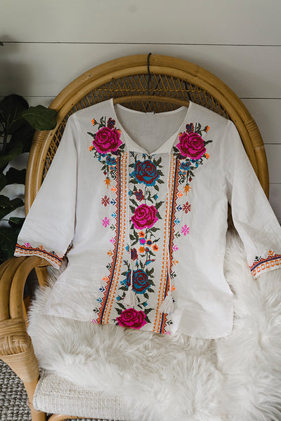 The Farmhouse Rose Boho Embroidered Blouse in White
