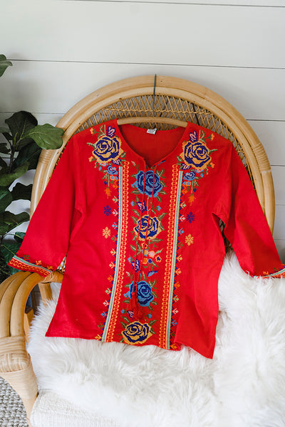 The Farmhouse Rose Boho Embroidered Blouse in Red