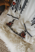 White Embroidered Boho Blouse