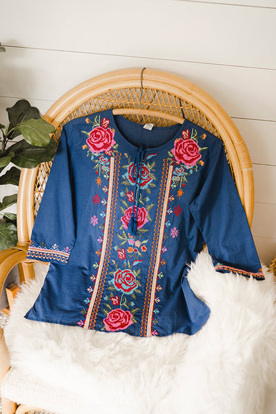 The Farmhouse Rose Boho Embroidered Blouse in Blue