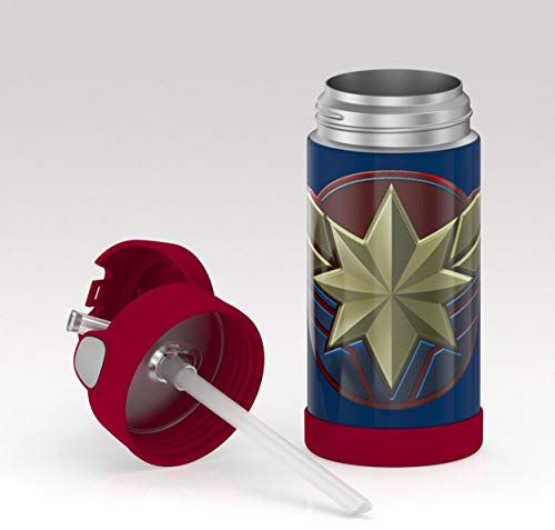 Insulated Stainless Steel Straw Bottle: Captain America (12oz)