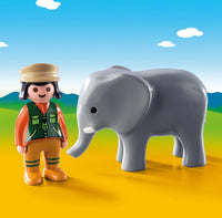Playmobil 1-2-3: Zookeeper with Elephant