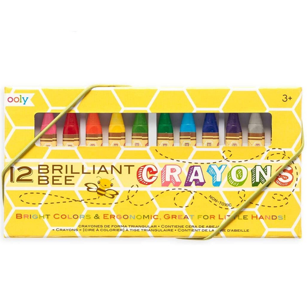 Brilliant Bee Crayons, Bright and Vivid Triangular Crayon (Set of 12)