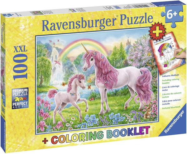 Magical Unicorn 100pc puzzle with Coloring Booklet (ages 6+)