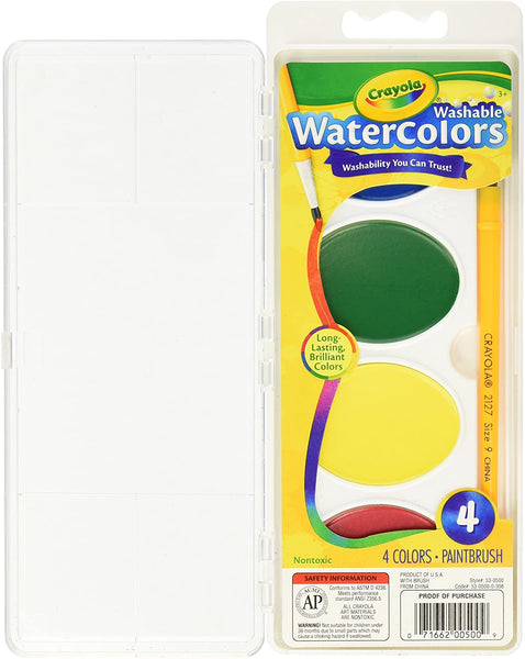 Washable Watercolors with Brush, 4 colors