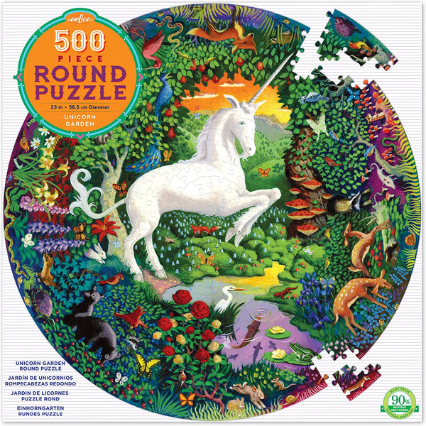 Unicorn Garden 500pc Round Puzzle