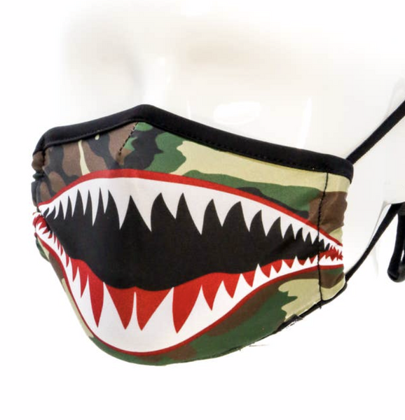 Kid's & Teen/Adult Face Mask: Adjustable Straps: Flying Tiger Camo