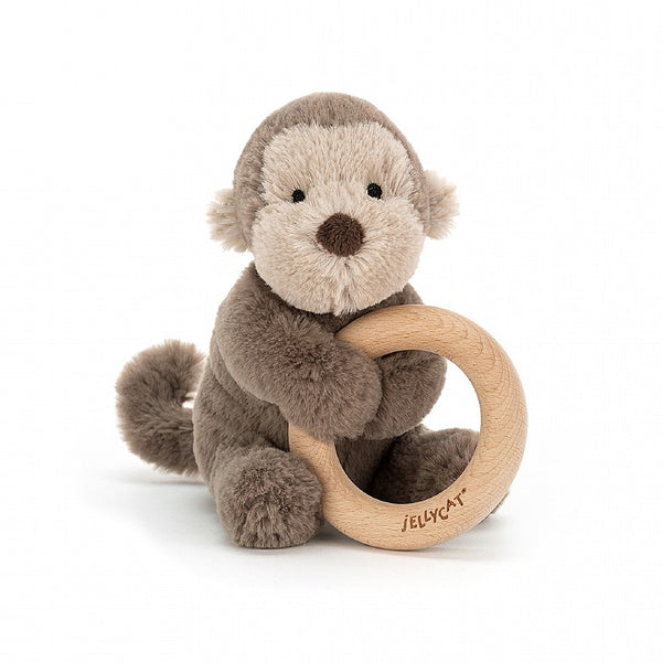 Wooden Ring Rattle: Monkey