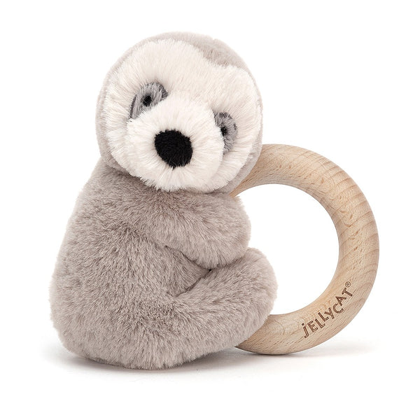 Wooden Ring Rattle: Sloth