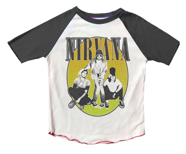 Nirvana Raglan Short Sleeve Tee, Multiple Sizes