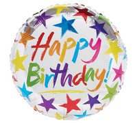 "Mylar Balloon: 17"" Happy Birthday Stars on Silver"