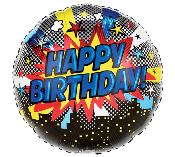"Mylar Balloon: 18"" Happy Birthday Pop Art"