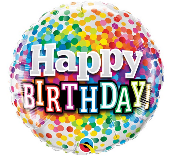 "Mylar Balloon: 18"" Happy Birthday Rainbow Confetti"