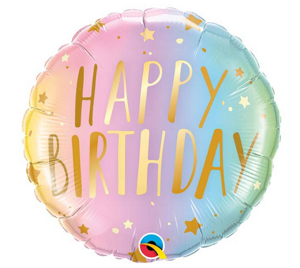 "Mylar Balloon: 18"" Happy Birthday Pastel Ombre"