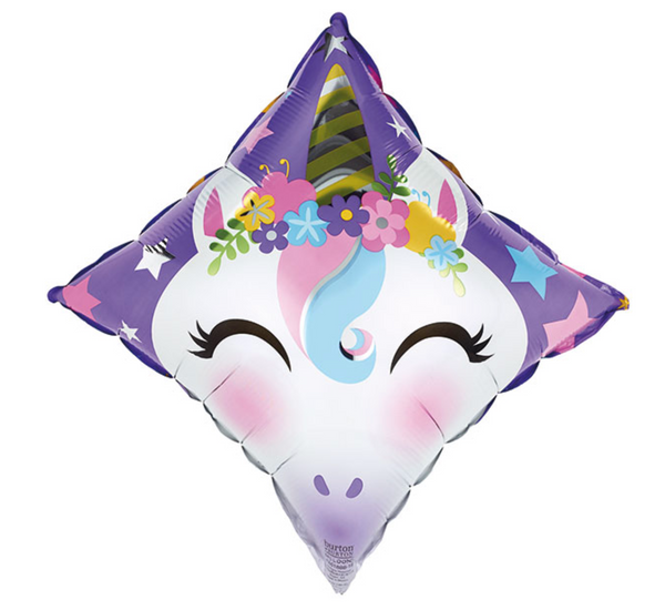 "Mylar Balloon: 17"" Unicorn on Diamond"
