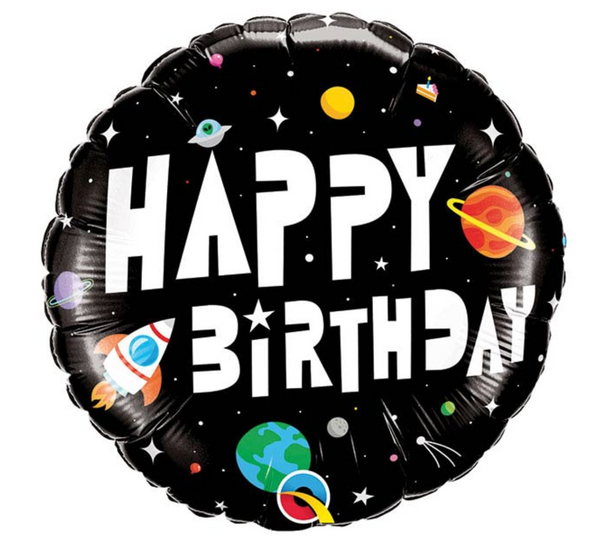 "Mylar Balloon: 18"" Happy Birthday Astronaut Space"
