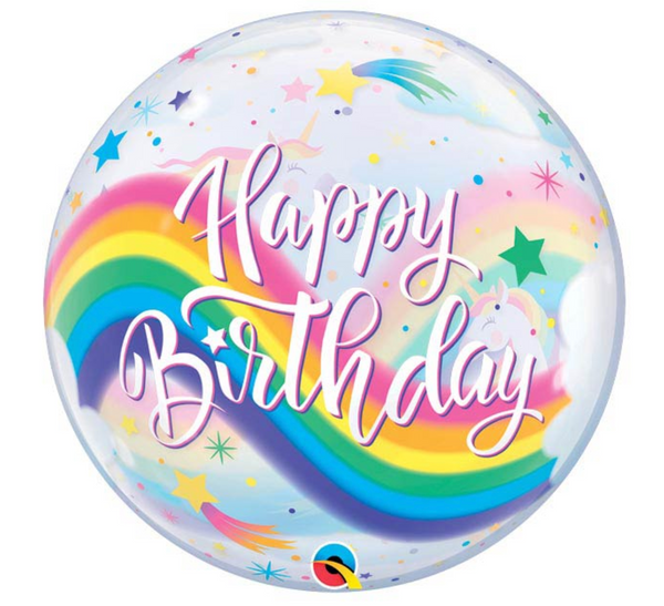 "Mylar Balloon: 22"" Happy Birthday Rainbow Unicorn Bubble, Large"