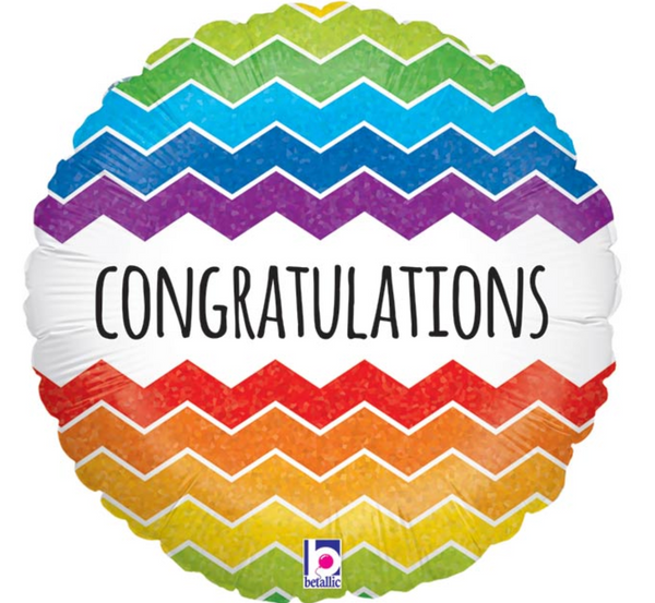 "Mylar Balloon: 18"" Congratulations Chevron"