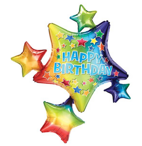 "Mylar Balloon: 35"" Happy Birthday Rainbow Star Cluster"