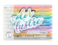 Color Lustre: Metallic Brush Markers, Set of 10
