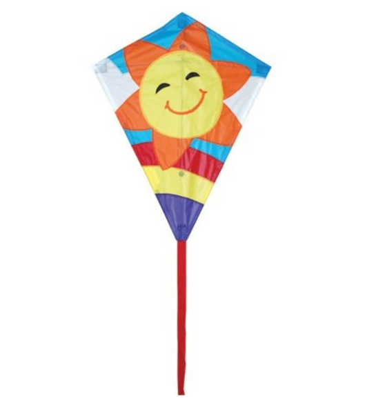 "Smiley Sun Kite 25"" Diamond Kite"