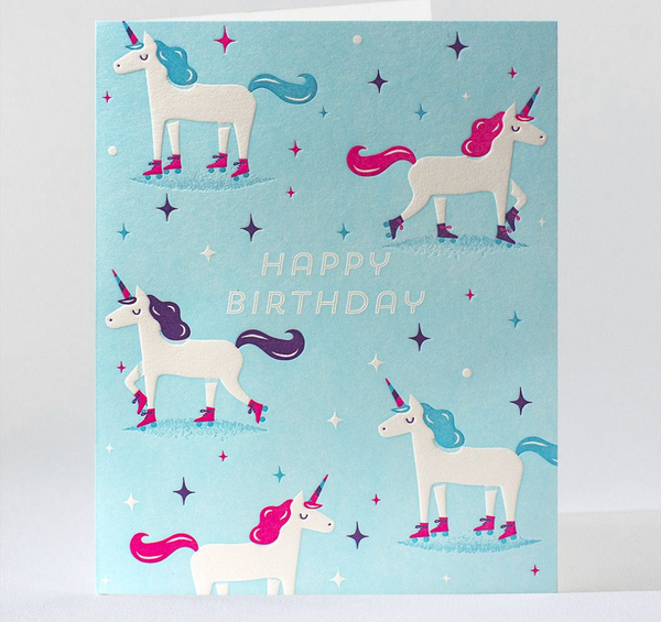 Birthday Card: Skating Unicorns