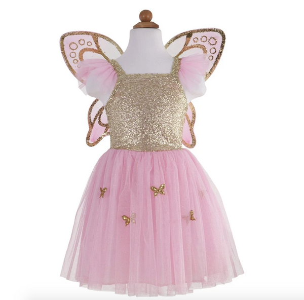 Gold Butterfly Dress w/ Wings (Size 4-6)