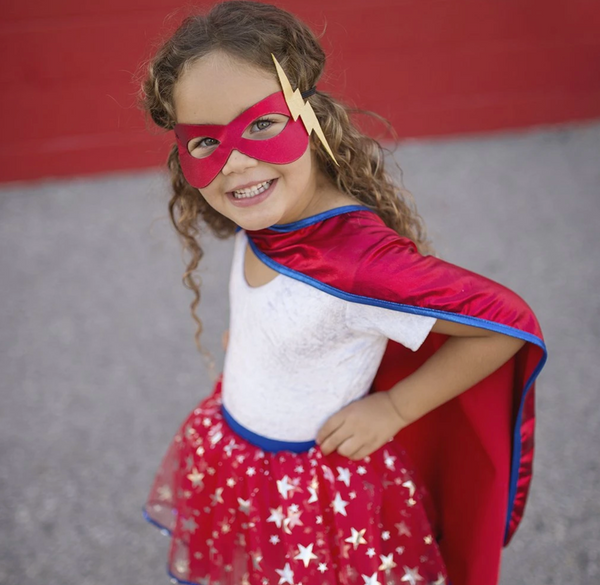 Superhero Tutu Cape and Mask Set (Size 4-7)