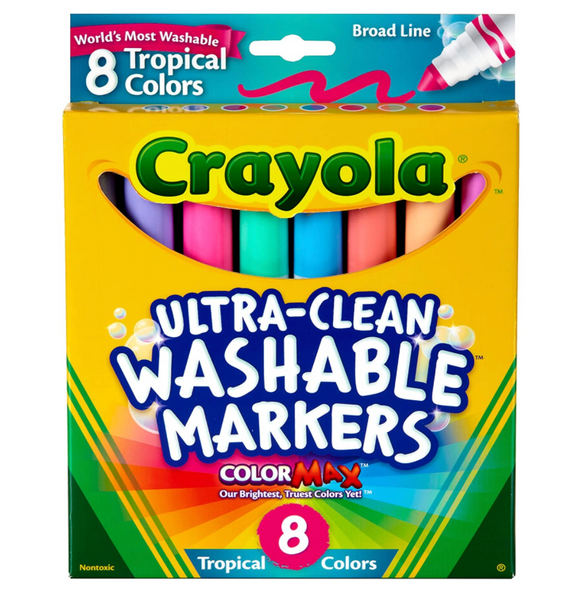 Washable Broad Line Tropical Markers, Set of 8