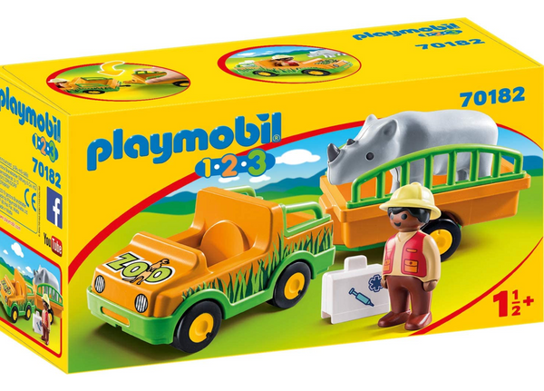 Playmobil 1-2-3: Zoo Vehicle with Rhinoceros