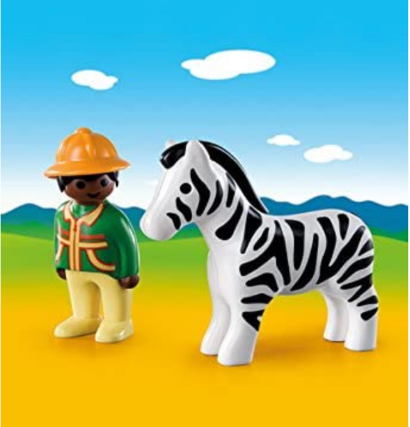 Playmobil 1-2-3: Ranger with Zebra