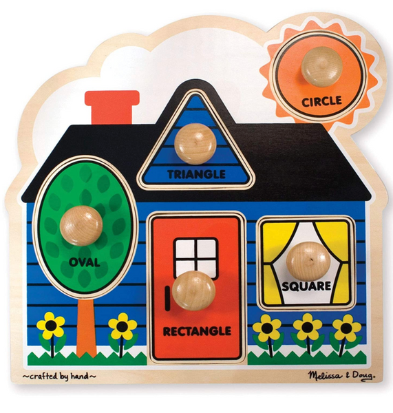 Wooden First Shapes House Knob Puzzle