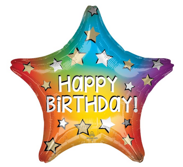 "Mylar Balloon: 19"" Happy Birthday Star"
