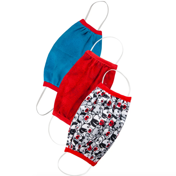 Kid's Cotton Face Mask: Puppy/Ruby/Blue (3-Pack)