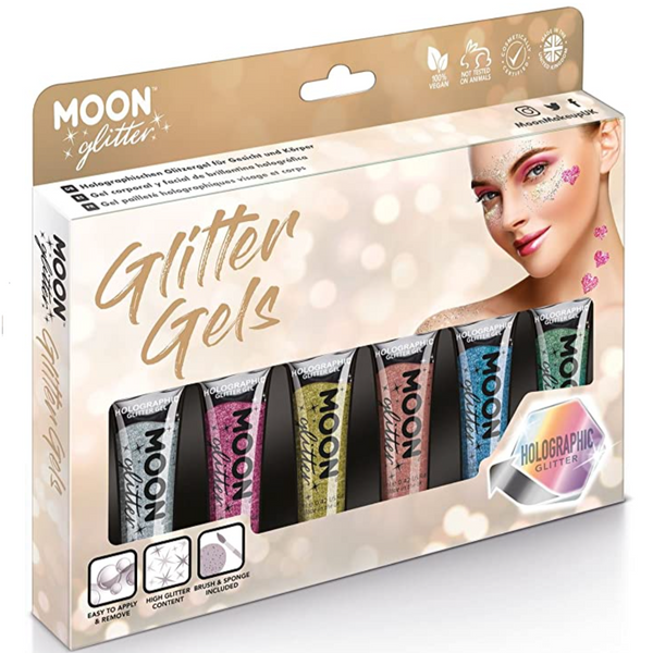 Face and Body Moon Glitter: Holographic
