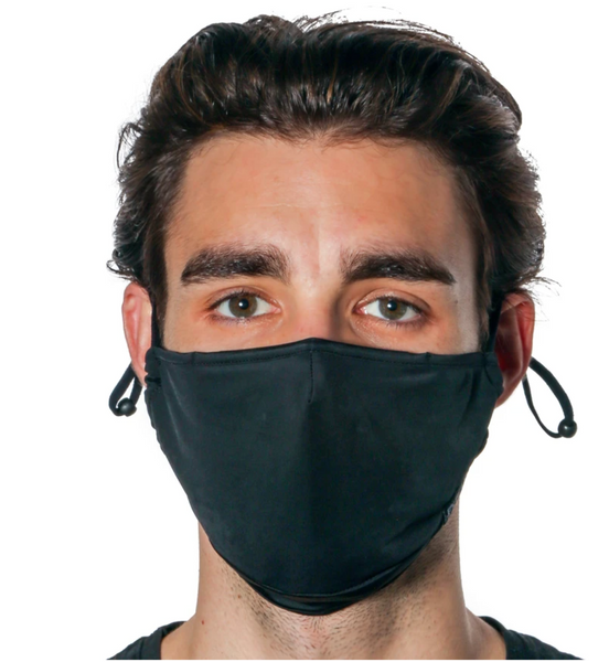 Kids & Teen/Adult Face Mask Adjustable Straps: (With Nose Bridge): Black