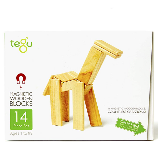 Tegu 14 Piece Magnetic Wooden Block Set, Natural