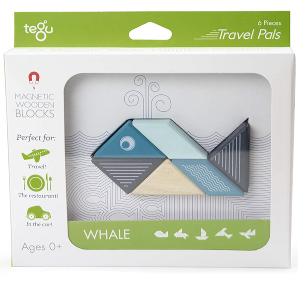 Tegu Travel Pal Magnetic Wooden Blocks: Whale