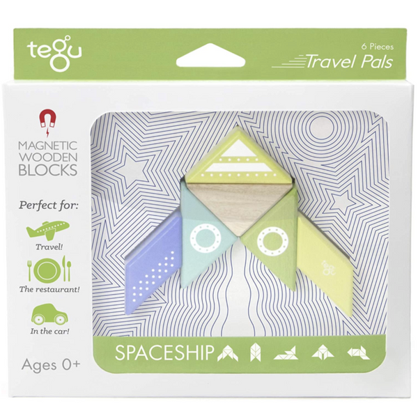 Tegu Travel Pal Magnetic Wooden Blocks: Spaceship