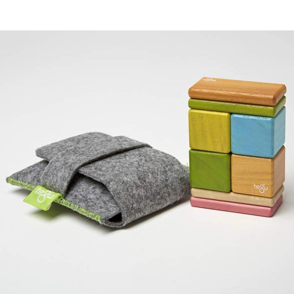 Tegu Magnetic Wooden Block Set 8-Piece Pouch, Tints
