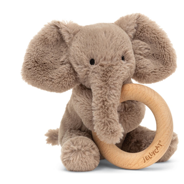 Wooden Ring Rattle, Smudge Elephant