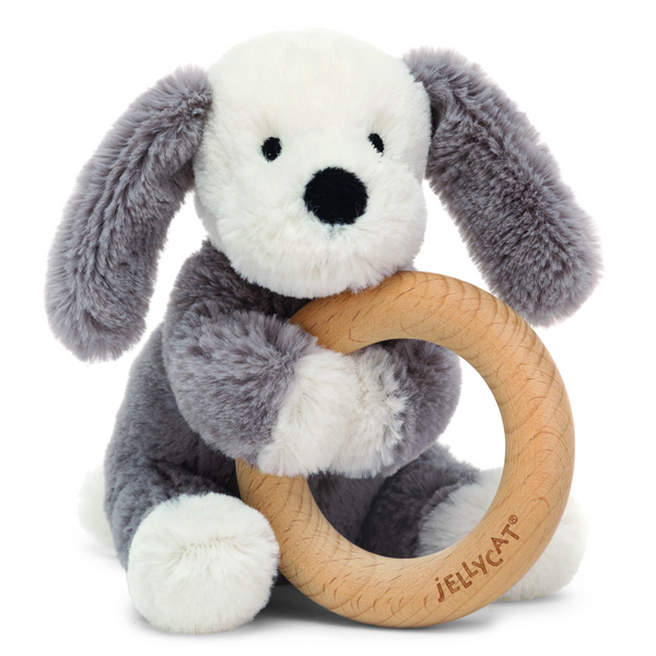 Wooden Ring Rattle, Smudge Puppy
