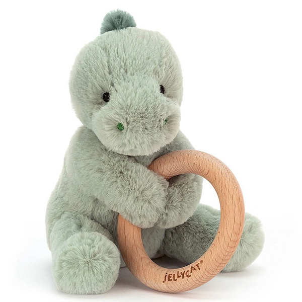 Wooden Ring Rattle, Puffles Dino