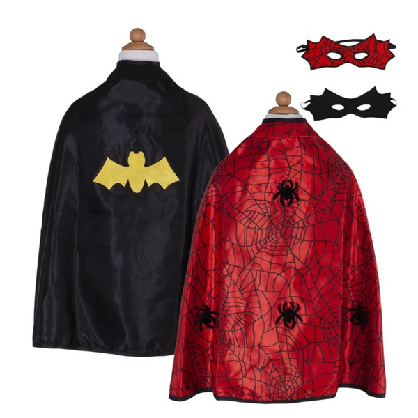 Reversible Spiderman/Batman Cape with Mask (Multiple Sizes)