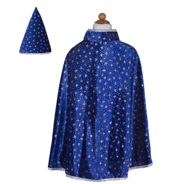 Blue Wizard Cape & Hat (Size 4-6)