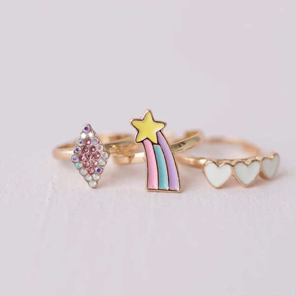 Heart & Shooting Star Ring Set
