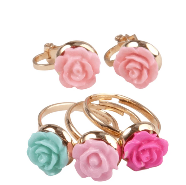 Rose Rings & Earring Set