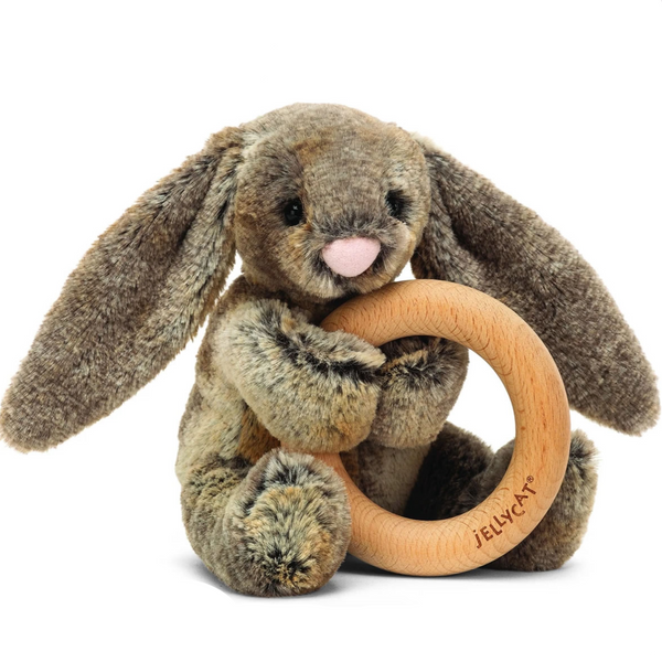 Wooden Ring Rattle, Woodland Bunny