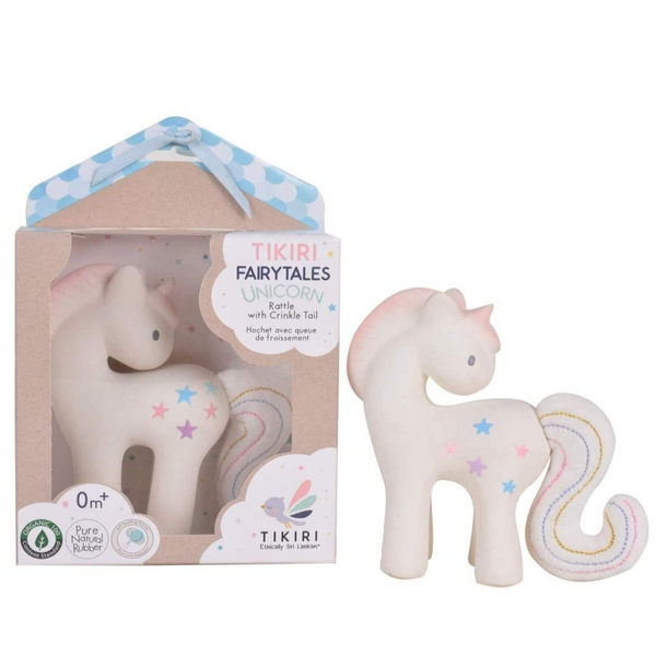 Cotton Candy Unicorn (Natural Rubber Rattle with Crinkle Tail)