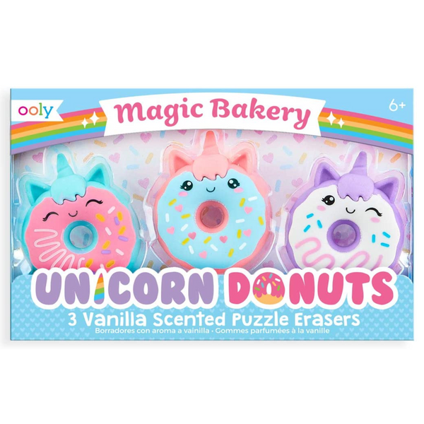Vanilla Scented Erasers: Magic Bakery Unicorn Donuts (Set of 3)